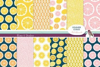 Summer Citrus Digital Lemon Patterns