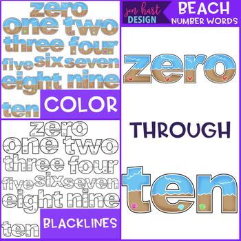 Summer Clip Art -Beach Number Words {jen hart Clip Art}