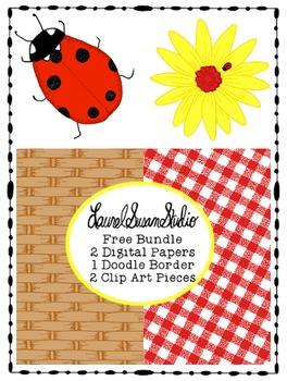Summer Clip Art Free Bundle PNG JPG Commercial Personal Flower Ladybug
