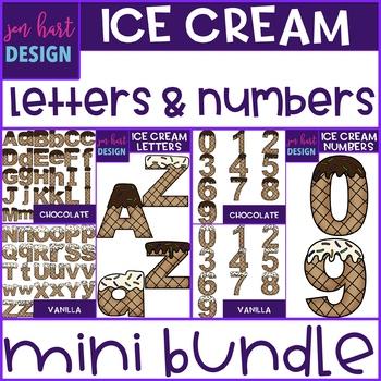 Ice Cream Letters and Numbers Mini BUNDLE {jen hart Clip Art}