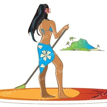 Summer Clip Art - Paddleboarder - Flip Flops - Beach Towel - color & blackline