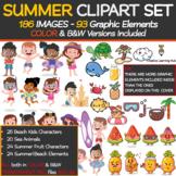 Summer Clip Art Set (186 Images|93 Graphic Elements|Color + B&W)