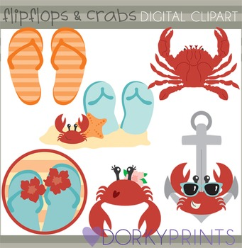 Summer Clip Art with Flip Flops and Crabs