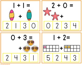 Summer Clip Cards For Counting, Addition, and Subtraction