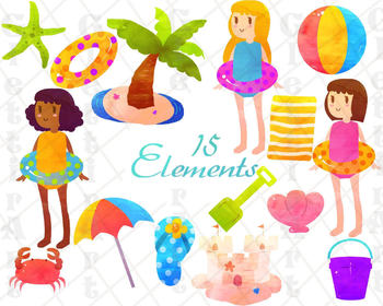 Summer Clip art, Beach Clip art, Beach Clip Art, for personal and commercial use