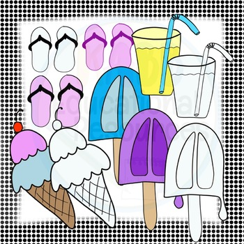 Summer Clipart Bundle!  Color and Black and White Options!