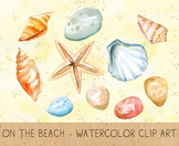 Summer Clipart, Digital Shells, Stones, Starfish, Sand, Re