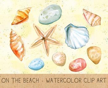 Summer Clipart, Digital Shells, Stones, Starfish, Sand, Re