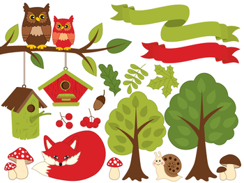 Summer Clipart - Digital Vector Forest, Fox, Owl, Mushroom