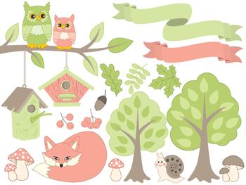 Summer Clipart - Digital Vector Forest, Fox, Owl, Mushroom, Nature Clip Art