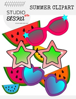 Summer Clip Art! Water melon & Sunglasses