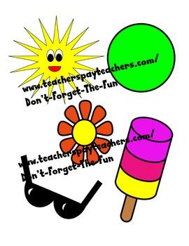 Summer Clipart; sunglasses, ball, sun, flower, popsicle