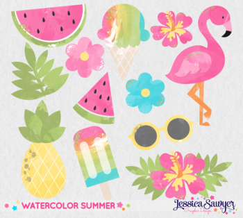 Summer Clipart with glitter