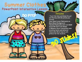 Summer Clothes - Dress Me Dolls PowerPoint Interactive Les