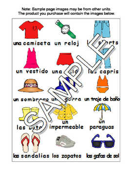 Summer Clothes / La ropa de verano Spanish Workbook & Games Pack