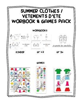 Summer Clothes / Vêtements d'été FRENCH Workbook & Games Package