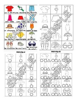 Summer Clothes / Vêtements d'été FRENCH Worksheets and Games Pack