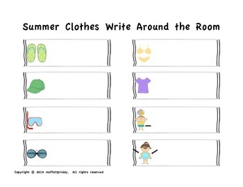 Summer Clothes Write Around the Room
