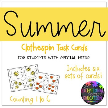 """Summer Clothespin """"Count and Clip"""" Cards"""