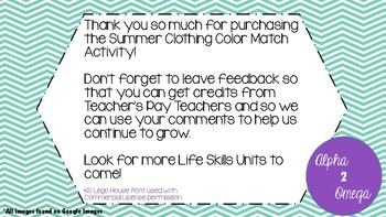 Summer Clothing Color Match for Life Skills and Autism Classroom