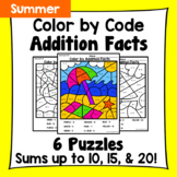 Summer Color By Addition Facts: Sums up to 10, 15, & 20
