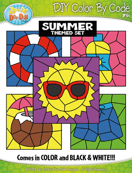 Summer Color By Code Clipart {Zip-A-Dee-Doo-Dah Designs}