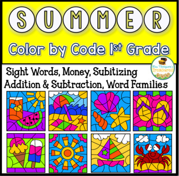 Summer Color By Code First Grade