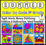 Summer Coloring Pages Color By Code First Grade