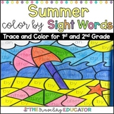 Summer Color By Code First and Second Grade Sight Word Worksheets