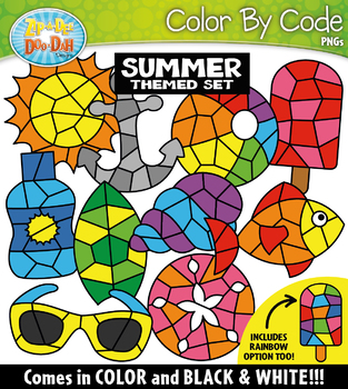 Summer Color By Code Shapes Clipart {Zip-A-Dee-Doo-Dah Designs}