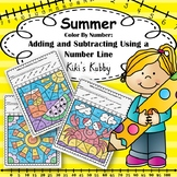 Summer: Color By Number Adding and Subtracting Using a Number Line