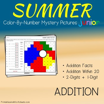Summer Addition Color by Number, Summer Coloring Pages Addition
