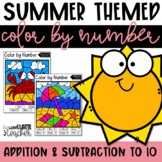 Color By Number  Summer  Addition and Subtraction in 10