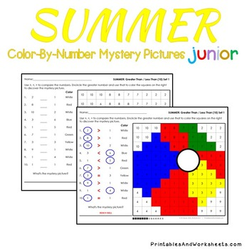 Summer Color-By-Number: Counting/Greater Than/Less Than (K-2)