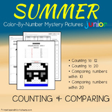 Summer Kindergarten Packet, Greater Than Less Than Summer Counting Worksheet