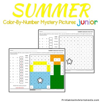Summer Color-By-Number: Subtraction (K-2)