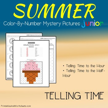 Summer Color-By-Number: Telling Time the Hour / Telling Time to the Half Hour