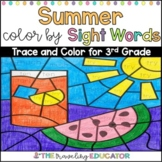 Summer Color By Sight Word Worksheets for Third Grade