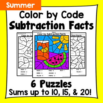 Summer Color By Subtraction Facts: Minuends up to 10, 15, & 20