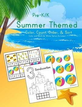 Summer Color, Count, Order, & Sort Pre-K/K Activities
