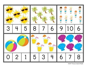Summer Color, Count, Order, & Sort Pre-K/K Activities