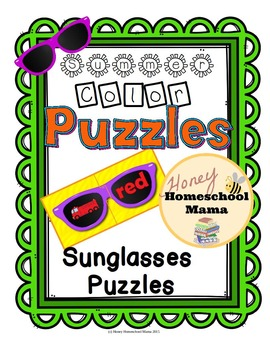 Summer Color Puzzles with Sunglasses Shaped 2 Piece Puzzles
