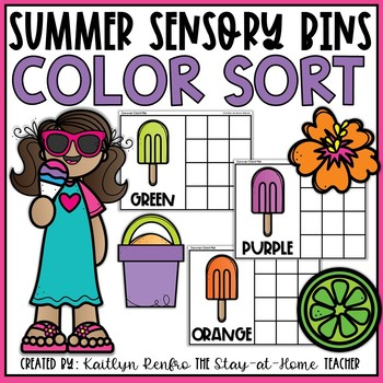 Summer Color Sort Sensory Bin FREEBIE