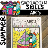 Summer Color by Code ABC's  (Uppercase and Lowercase)