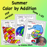Summer Color by Addition Basic Fact Worksheets for Home an