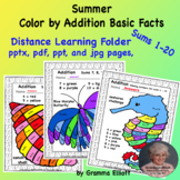 Summer Color by Addition Basic Facts Distance Learning Package