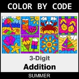 Summer Color by Code - 3-Digit Addition