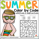 Color by Code Math Summer Addition and Subtraction