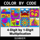 Summer Color by Code - Multiplication: 4-Digit by 1-Digit
