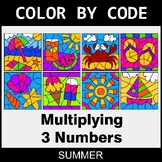 Summer Color by Code - Multiplying 3 Numbers